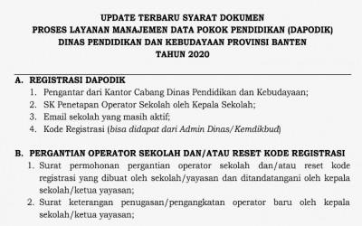 Persyaratan Dokumen Proses Layanan Manajemen DAPODIK Provinsi Banten Tahun 2020